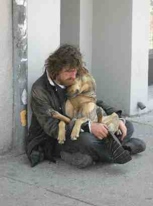 Homeless Man & His Dog. Photo by Kirsten Bole.